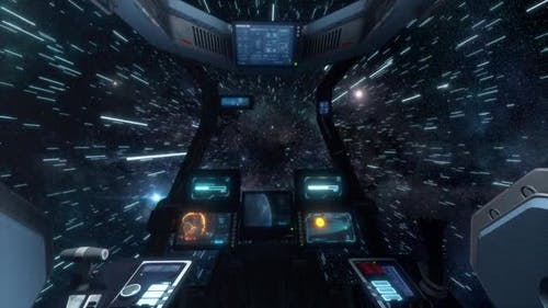 Spaceship Cockpit Interior Before Jumping to Warp Speed