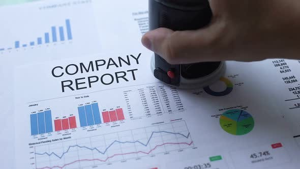 Thumbnail for Company Report Approved, Hand Stamping Seal on Official Document, Statistics