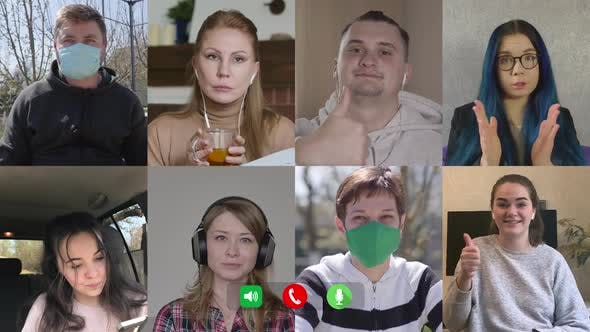 Thumbnail for Company of Caucasian People Chatting Online. Multiscreen of Eight Cheerful Men and Women in and