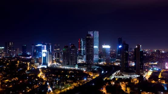 Thumbnail for 4 K City Skyscrapers Night Aerial Hyperlapse