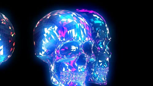 Glowing lowpoly skulls