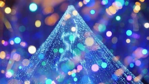 Street Festive Lighting, Blurry Lights of a Christmas Tree