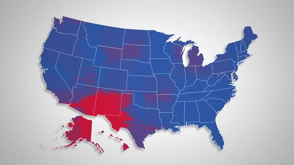 USA Map - Red States Changing to Blue States