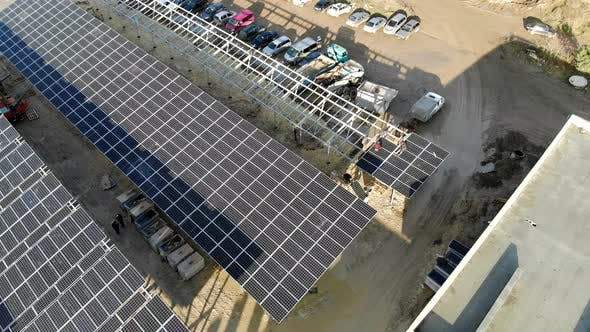 Thumbnail for Aerial View Panorama of Solar Panels. Slow Movement of the Camera Over the Panels. Background