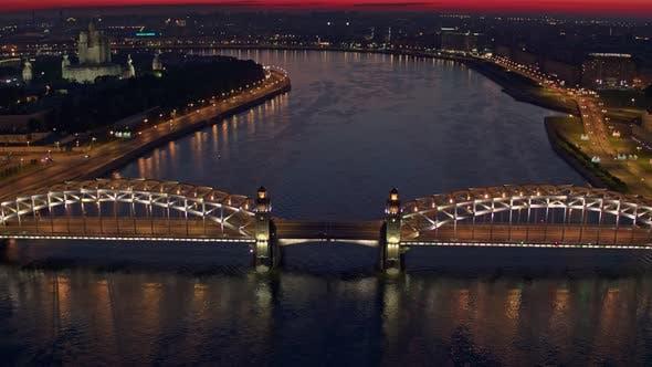 Thumbnail for Night Flight Over The Neva And Bolsheokhtinsky Bridge