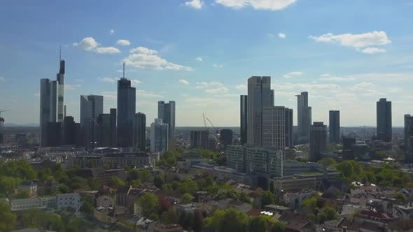 Thumbnail for AERIAL: Rising Up Over Frankfurt Am Main, Germany Skyline on Beautiful Summer Day