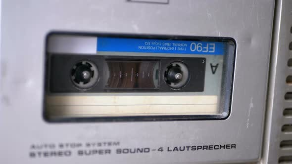 Thumbnail for Vintage Tape Recorder Plays Audio Cassette Inserted Therein