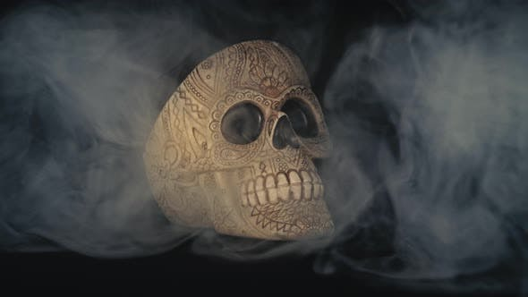 Thumbnail for Skull Covered In Smoke On A Dark Background.