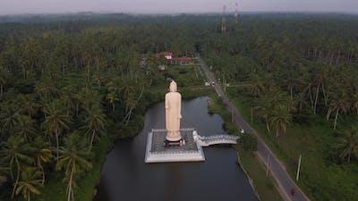 Aerial Footage of Buddha Statue - Tsunami Memorial in Peraliya