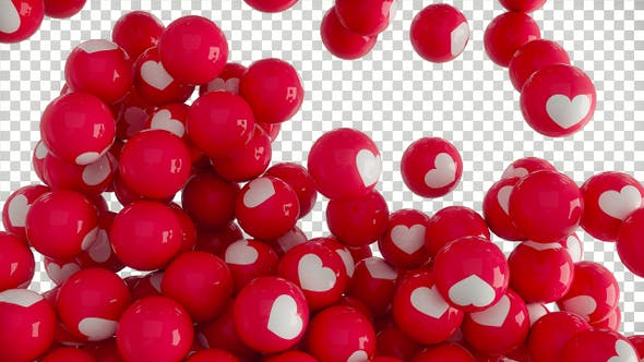 Red falling balls with white hearts with Alpha