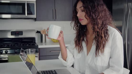 Thumbnail for Woman Drinking Her Morning Coffee
