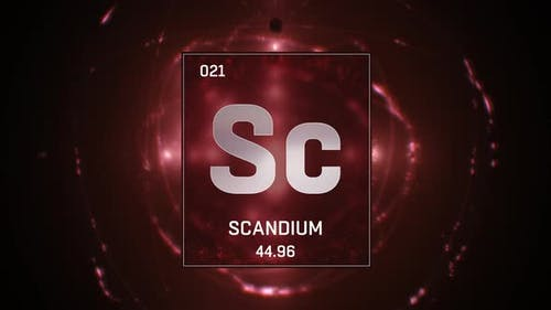 Scandium as Element 21 of the Periodic Table on Red Background