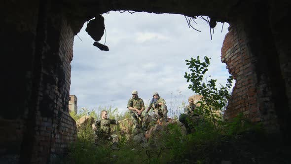 Thumbnail for Military Squad Resting in Destroyed Area