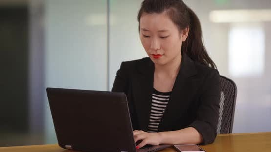 Thumbnail for Portrait of millennial businesswoman typing on laptop computer in office studio