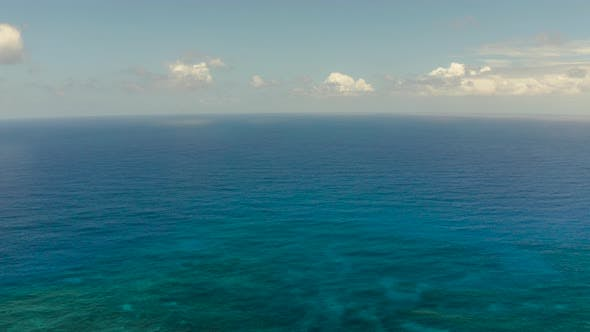 Thumbnail for Seascape, Blue Sea, Sky with Clouds, Aerial View
