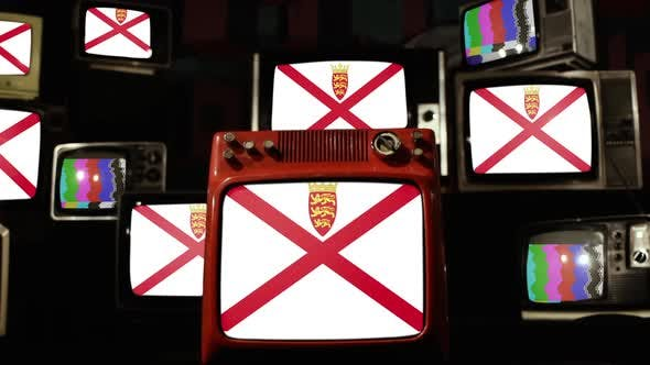 Flag of Jersey on Retro TVs.