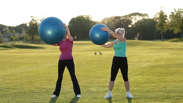 Thumbnail for Smiling Adult Women Doing Ab Exercises with Balls