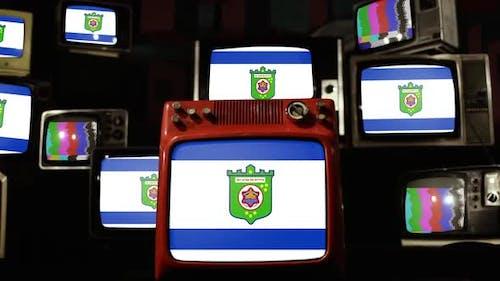 Flag of Tel Aviv, Israel, and Retro TVs.