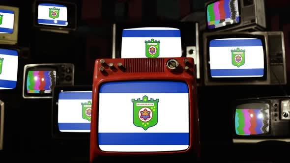 Thumbnail for Flag of Tel Aviv, Israel, and Retro TVs.