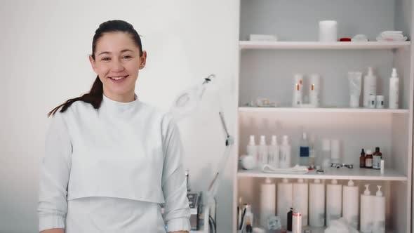 Portrait of a Beautician in a Beauty Salon