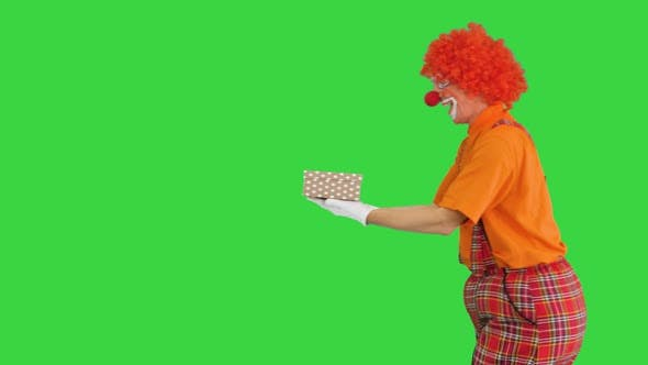 Happy Male Clown Holding Present While Walking By on a Green Screen Chroma Key