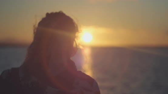 Woman Staring At The Sun 4K