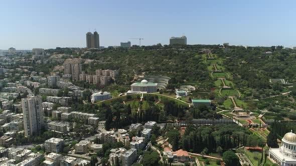 Aerial of Haifa with Baha'i Gardens and buildings