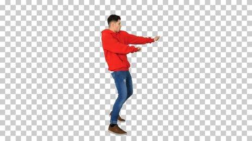 Young Hip-Hop Man Break Dancing Top Break Dance, Alpha Channel