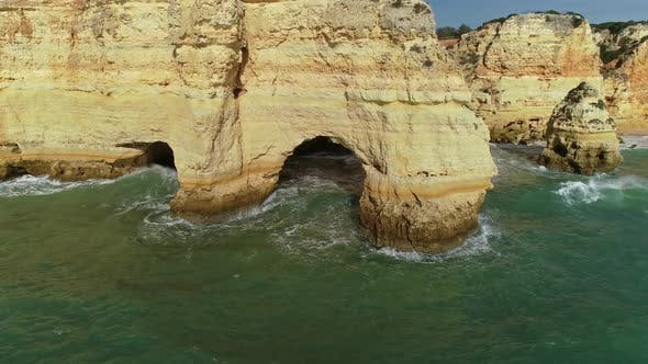 Thumbnail for Aerial Round View on Cliffs and Waves in Algarve