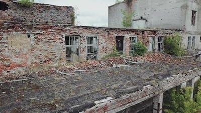 Ruins of abandoned old broken industrial factory