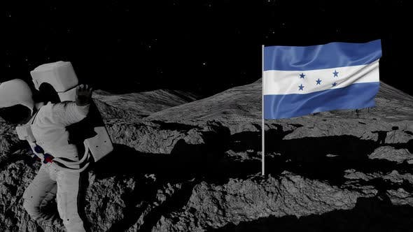 Thumbnail for Astronaut Planting Honduras Flag on the Moon