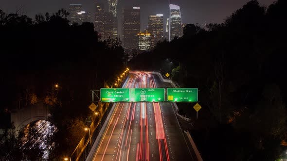 Thumbnail for Time Lapse of a Freeway Going Into Los Angeles