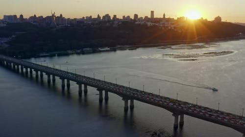 Sunset City Bridge Kyiv Transport Traffic Dnipro