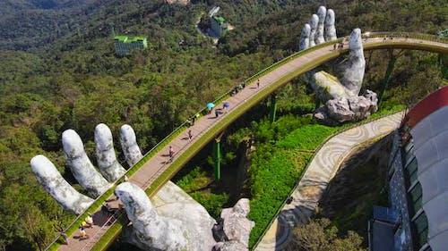 Aerial Shot of the Golden Bridge in the City of Danang