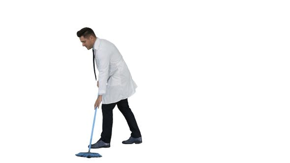 Thumbnail for Man in white robe sweeping the floor and talking on white