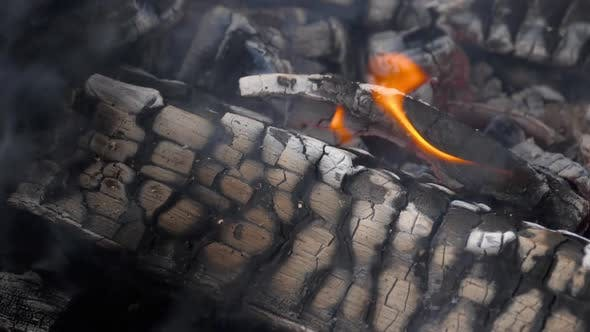 Thumbnail for Slow Motion Fire Burning Charcoal and Flame Glowing Burn