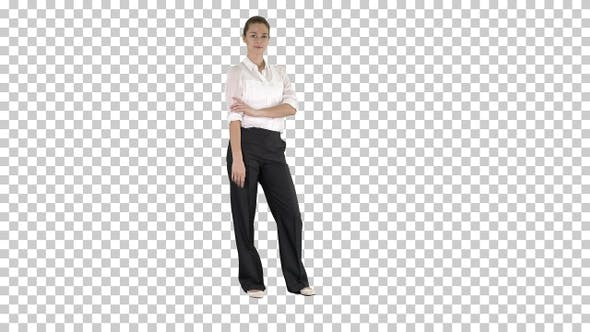 Thumbnail for Attractive smiling businesswoman standing with arms folded