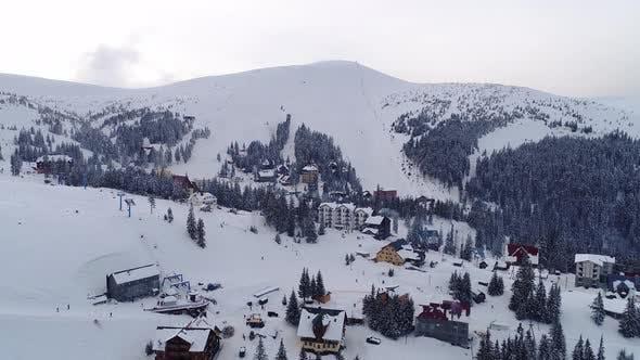 Thumbnail for Fly over mountain ski resort