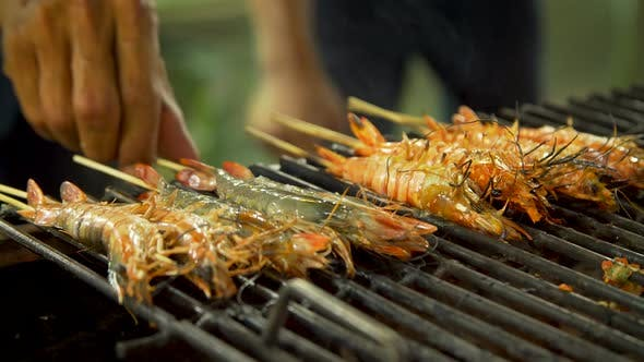 Thumbnail for Grilling Shrimps Over an Open Fire