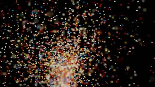 Thumbnail for Multicolored Particles Fly After Being Exploded, Colorful Sprinkles Bouncing and Falling Down