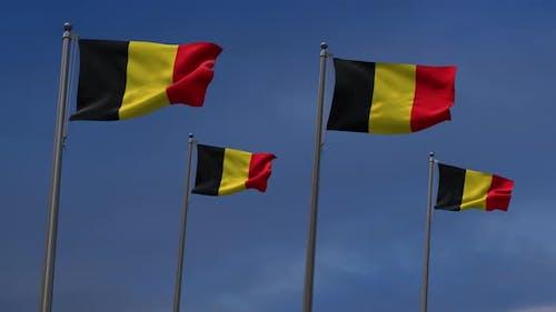 Belgium Flags  In The Blue Sky - 4K
