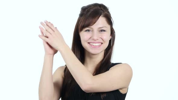 Thumbnail for Clapping Young Girl, White Background