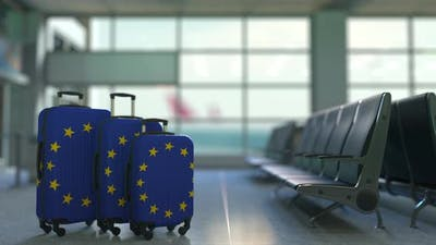 Travel Suitcases with Flag of the European Union