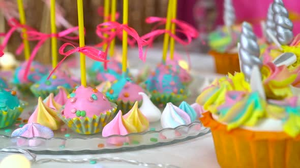 Thumbnail for Decorated Children's Birthday Party. Unicorn Themed Treats, Close-up Against Colorful Background