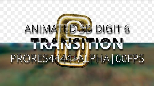 Animated digit 6 transition UHD 60fps