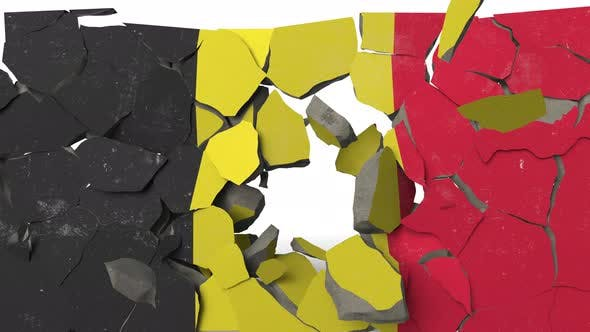 Destroying Wall with Painted Flag of Belgium