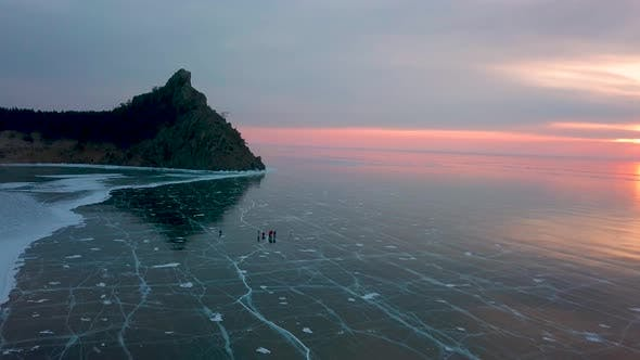 Sandy Bay on Lake Baikal in Winter. Siberia, Russia, Aerial View.