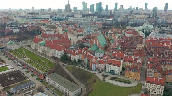 Thumbnail for Aerial View of Warsaw Skyline with Old Town