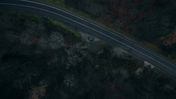 Thumbnail for Top View Drone Rotating Directly Above Black Car Standing at Dark Dangerous Mystic Forest Road