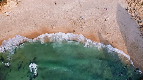 Thumbnail for Aerial View of Sandy Ursa Beach of Atlantic Ocean in Sintra, Portugal. Europe